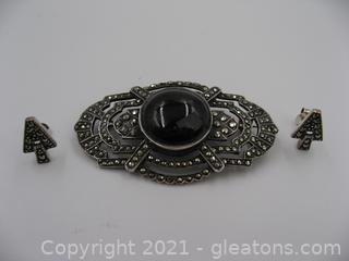 Sterling Silver Marcasite and Onyx Brooch with Marcasite Earrings