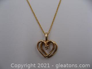 14kt Yellow Gold Diamond Heart Necklace