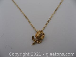 14kt Yellow Gold Diamond Rose Necklace
