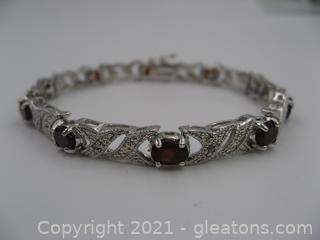 Sterling Silver Garnet & Diamond Bracelet