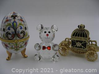 2 Trinket Boxes and Crystal Bear