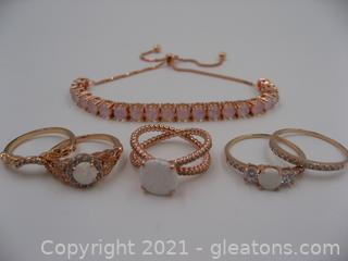 Lab Created Opal and Rose Toned Jewelry Lot
