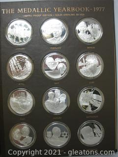 The Medallic Year Book-12 Solid Sterling Coins Depicting Events of 1977