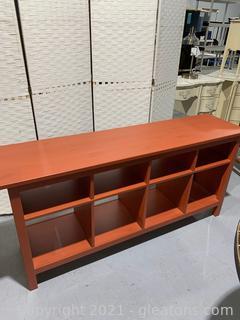 8 Cubbie Console Table W/ Open Back