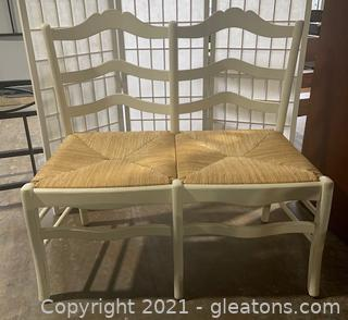 French Provincial Ladderback Settee/Bench