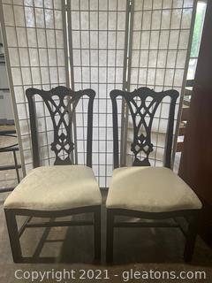 Pair of Thomasville Mahogany Chippendale Straight Leg Dining Chairs