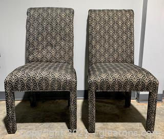 A Pair of Mod Dining Highback Parsons Chairs
