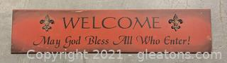 """""""Welcome, May God Bless All Who Enter"""" Wall Plaque"""
