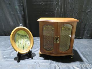 Wooden Jewelry Chest and Framed Picture of Leaf