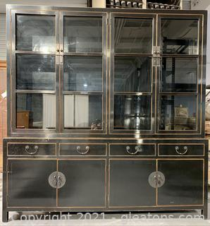 Statuesque Asian Inspired Wall Hutch China Cabinet