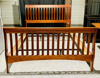 Cherry Amish Mission Style Slatted Sleigh Bed-Queen