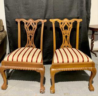 2 Pierced Splat Back Dining Chairs