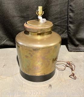 Mid Century Brass Ginger Jar Style Lamp and Finial