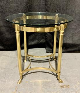 Nice Round Brass and Glass Footed End Table