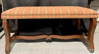 Upholstered Padded Bench With Nail Head Finish