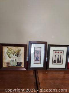 Pretty Trio of Framed Flower Prints
