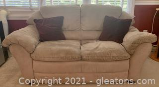 Suede Pillow Top Arm Loveseat