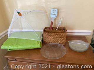 Summertime Picnic Lot 7 Plstes, Grill Spatula, Meat Fork, Bowl Umbrella , Meat Malet and Silverware Basket Lot of 13 Items