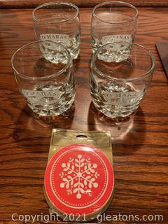 4 Omaras Irish Country Cream Glasses and 16 Hallmark Coasters