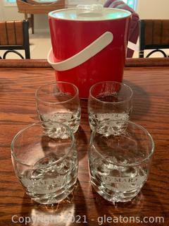 4 Omaras Irish Country Cream Glasses And Ice Bucket