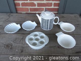 Teapot, Escargot Dish, Sea Shell Shape Dishes