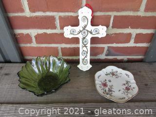 Pressed Green Sunflower Bowl / Secret Garden Plate Gorham  / Porcelain Wall Hanging Cross Formalities by Baum Bros.