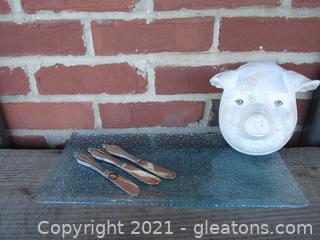 3-D Pig Head /  Glass Platter and 3 Appetizer / Cheese / Butter Spreader