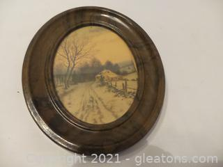 ANTIQUE OVAL TIN FRAME WITH OLD PRINT