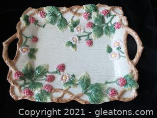 FRITZ AND FLOYD CERAMIC PLATTER BERRIES AND BLOSSOMS