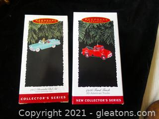 TWO HALLMARK COLLECTOR'S ORNAMENTS SERIES 57 CHEVROLET BEL AIR AND 1956 FORD TRUCK NEW