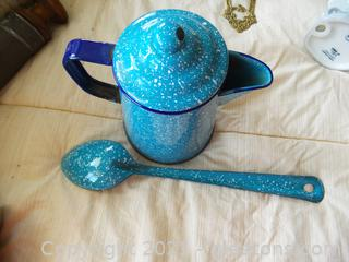 TWO PIECES ENAMEL COFFEE POT WITH LARGE SPOON
