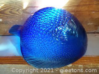 Blue glass fish bowl