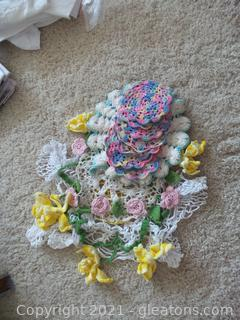 Lot of Colorful hand made Crochet Dolies