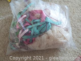 LOT OF LACE AND RIBBON  FOR CRAFTS