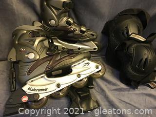 Rollerblades size 8, knee pads, elbow pads and hand guards