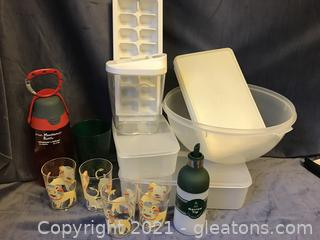 Plastic containers plus glasses and ice tray