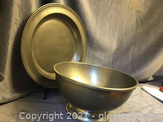 Large pewter bowl and plate