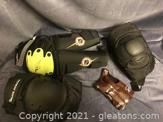 Shin guards and 2 sets of knee pads