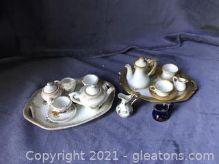 2 Doll House mini tea sets