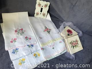 Vintage set of 6 guest towels switch plate and set of 4 coasters