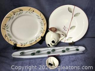 Olive lot, tray, oil bottle dipping dish and 2 plates