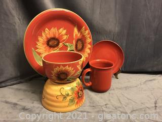 "Beautiful 12 "" plate 2 bowls , cup , dessert plate"