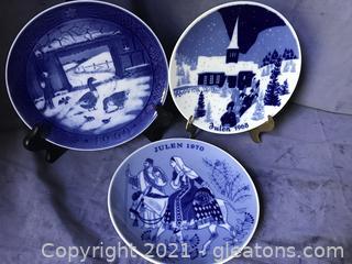 "Three 7"" blue/white plates, Royal Copenhagen and Julian Porsgrund"