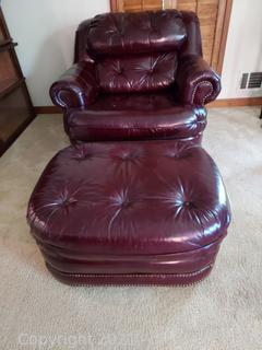 Nice Broyhill Burgundy Rolled Armed Leather Chair with Nailhead trim and a Matching Ottoman