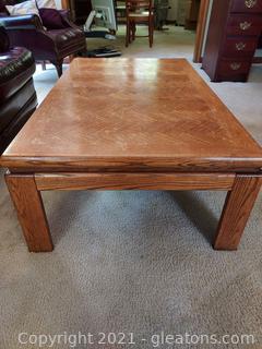 Mid Century Coffee Table with Herringbone Design