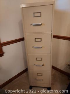 Rolling 4 Drawer Metal File Cabinet