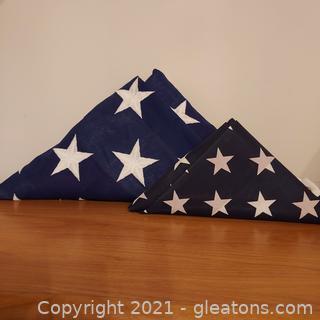2 Patriotic Cloth USA Flags Folded