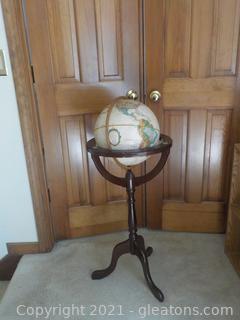 "Replogle 12"" Vintage Globe on Wooden Floor Stand"