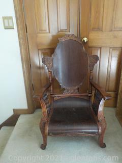 Antique Carved Dark Oak Victorian Arm Chair