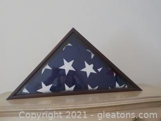 Encased Folded American Flag (No Details)